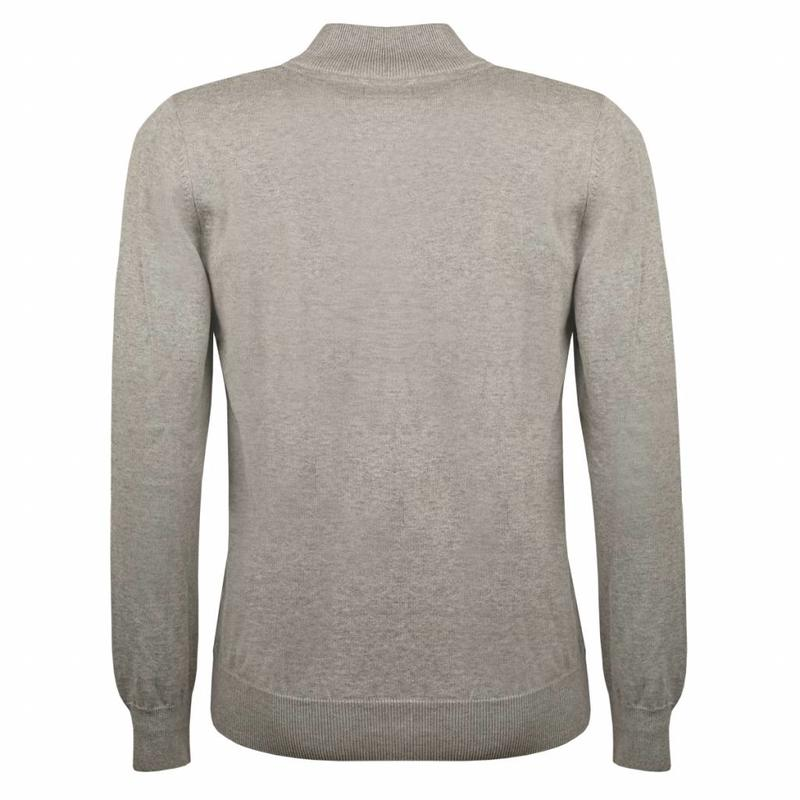 Q1905 Heren Pullover Half Zip Stoke Light Grey Navy