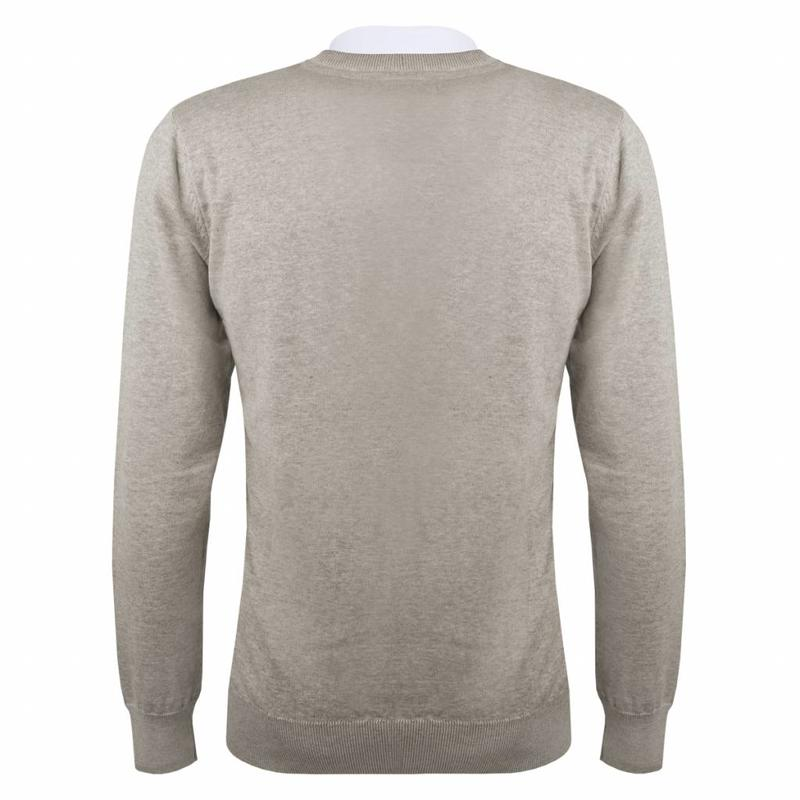 Q1905 Heren Pullover V-neck Marden Light Grey Silver / Black