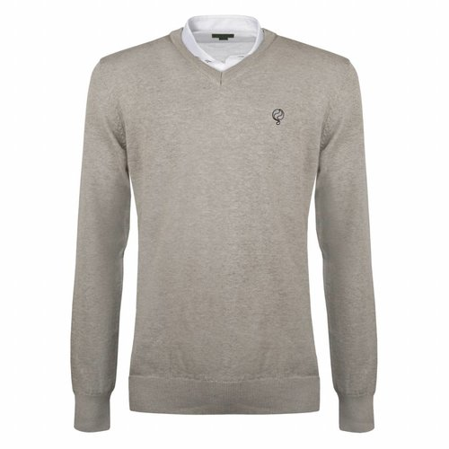 Heren Pullover V-neck Marden Light Grey Silver / Black