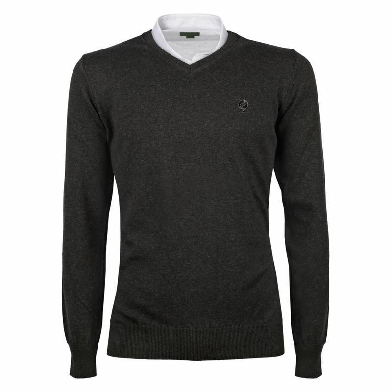 Q1905 Heren Pullover V-neck Marden Antracite Black / Silver