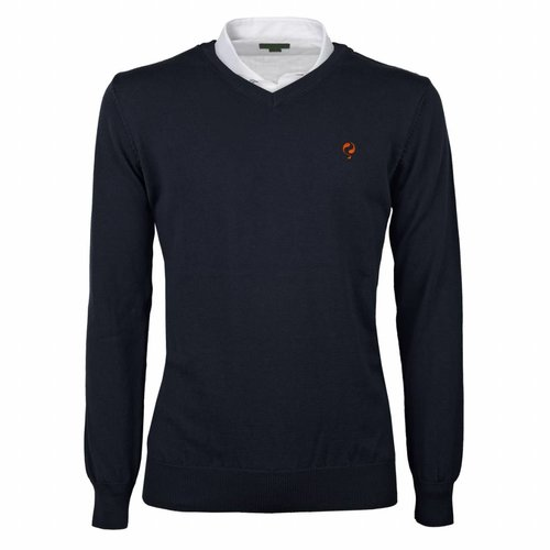 Men's Pullover V-neck Marden Deep Navy Orange / Navy