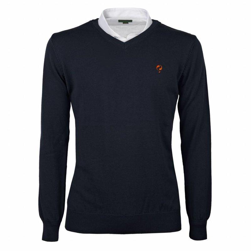 Q1905 Heren Pullover V-neck Marden Deep Navy Orange / Navy