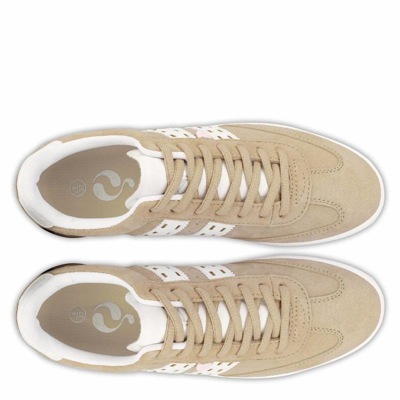Q1905 Dames Sneaker Platinum Lady Taupe / White