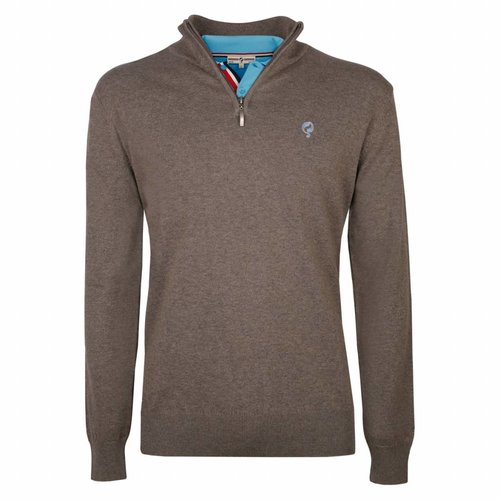 Heren Pullover Half Zip Stoke Mid Brown