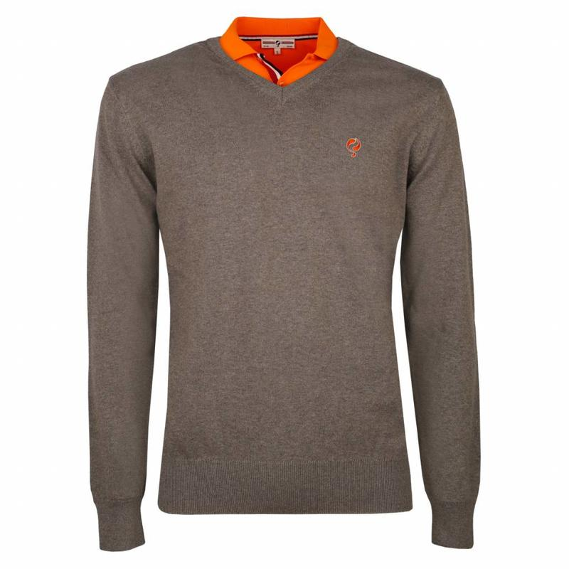Q1905 Men's Pullover V-neck Marden Mid Brown