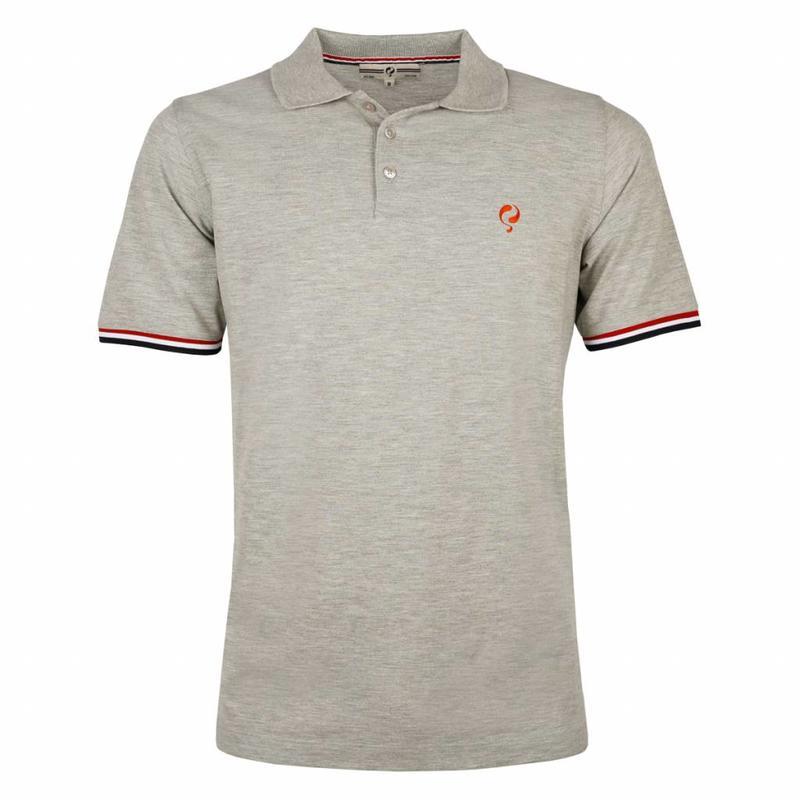 Q1905 Heren Polo Bloemendaal Grey Melee - Orange / Silver