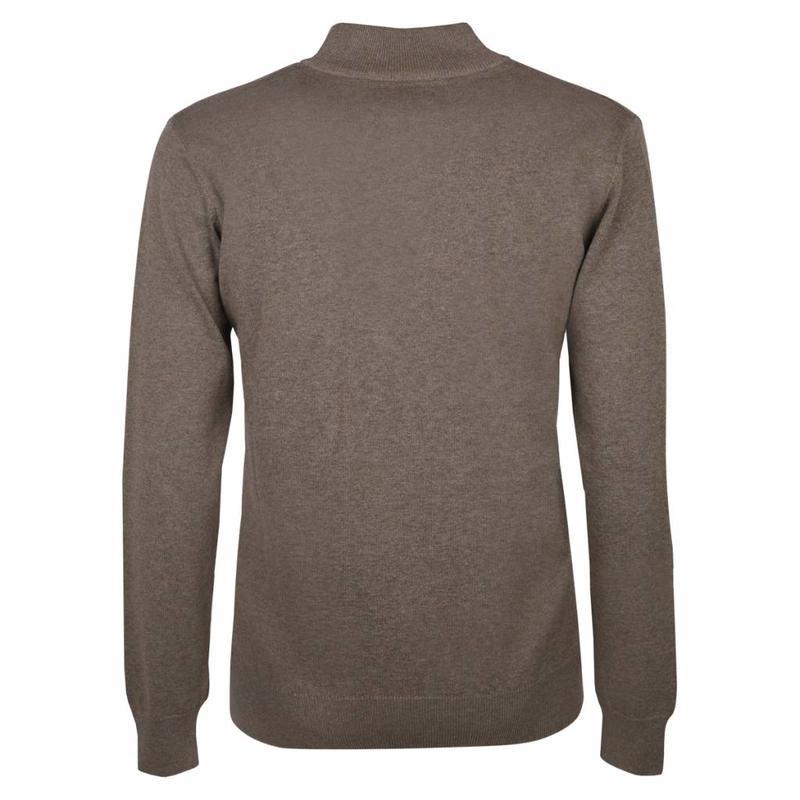 Q1905 Heren Pullover Half Zip Stoke Mid Brown