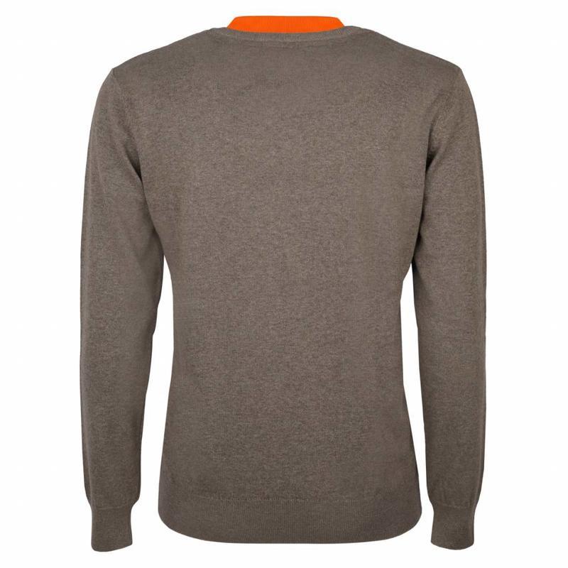 Q1905 Heren Pullover V-neck Marden Mid Brown