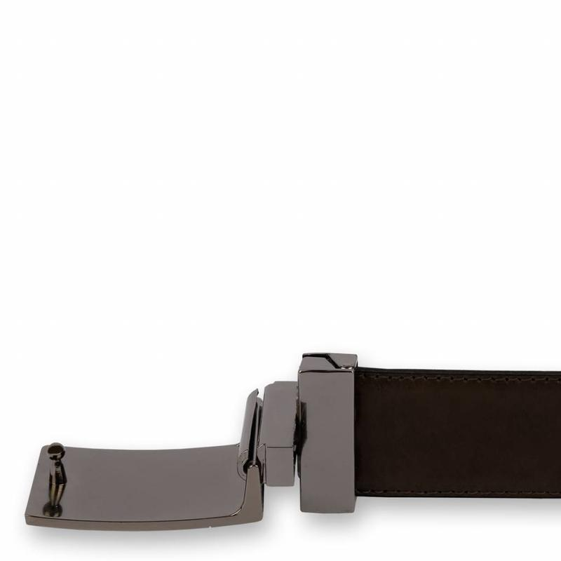 Leather Belt Chip Navy / Brown