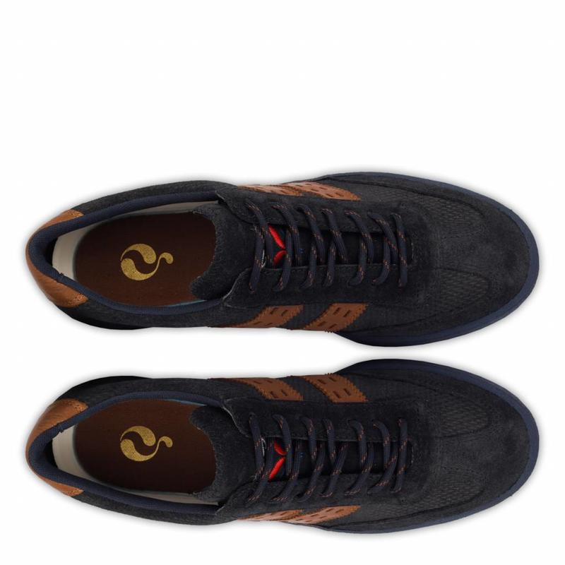 Heren Sneaker Legend'69 Deep Navy / Cognac