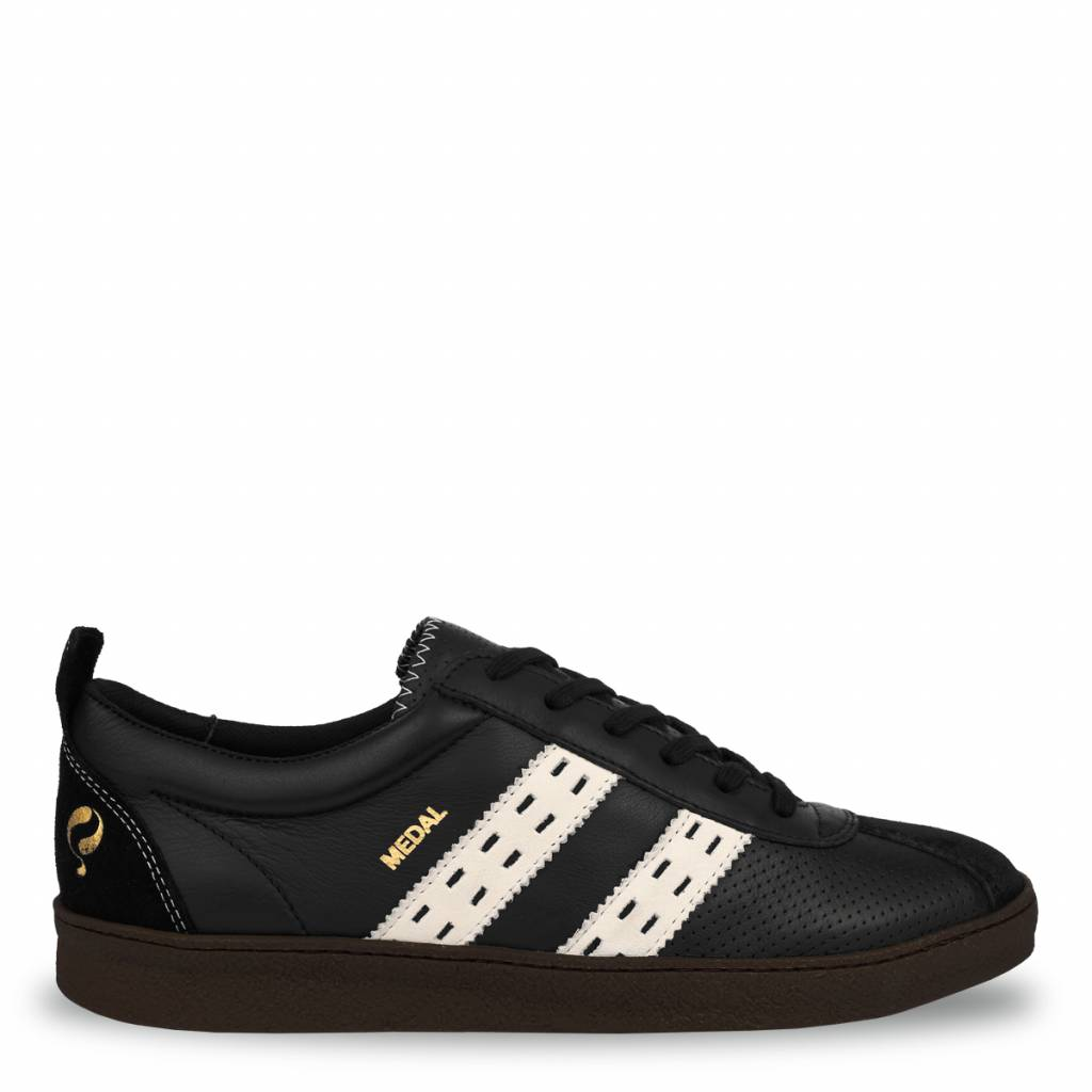 Q1905 Heren Sneaker Medal Black - Cloud Dancer - Crepe