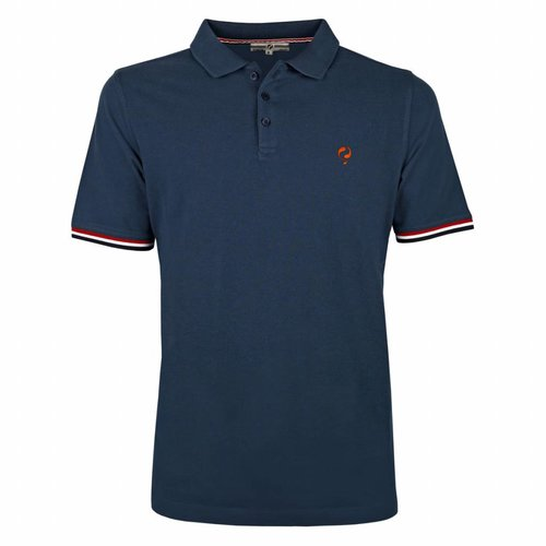 Heren Polo Bloemendaal Denim Blue - Orange / Denim Blue