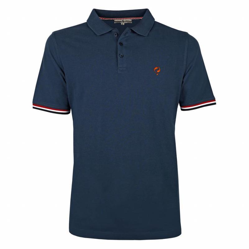 Heren Polo Bloemendaal Denim Blue - Orange / Denim Blue