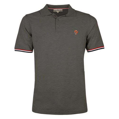 Heren Polo Bloemendaal Dk Grey Melee - Orange / Silver