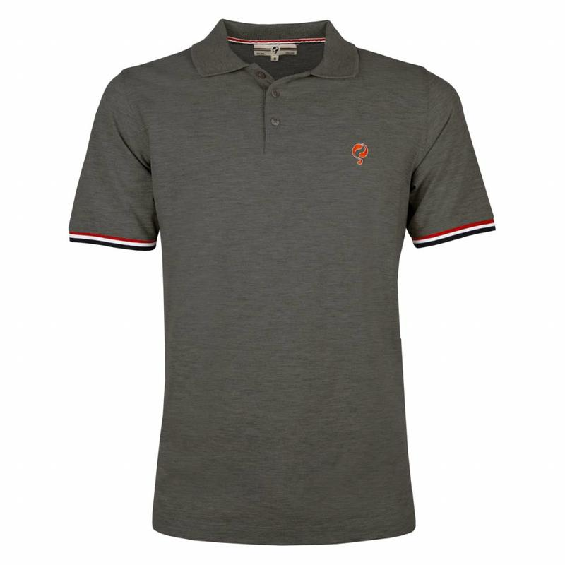 Men's Polo Shirt Bloemendaal Dk Grey Melee - Orange / Silver