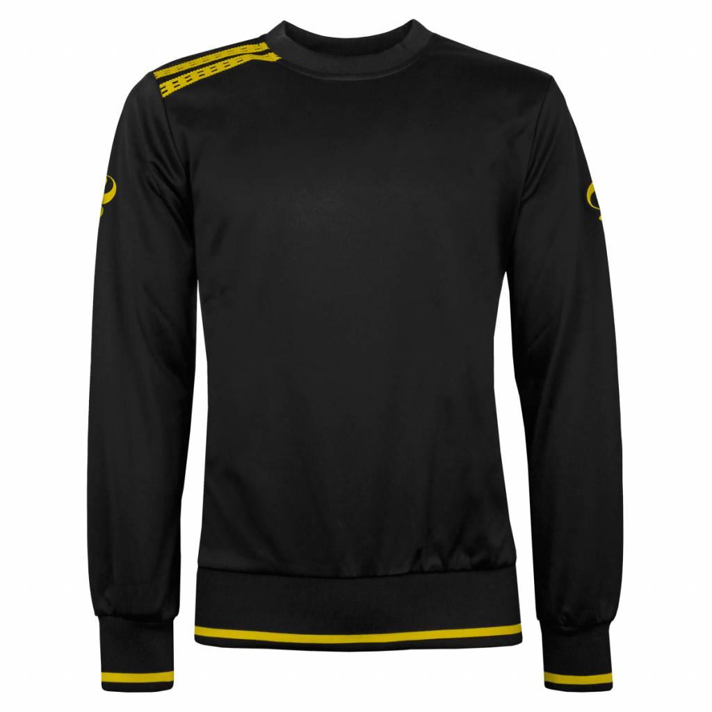 Q1905 Heren Sweater Kruys Zwart / Geel