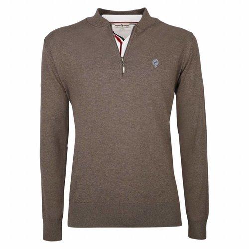 Men's Pullover Half Zip Chester Mid Brown