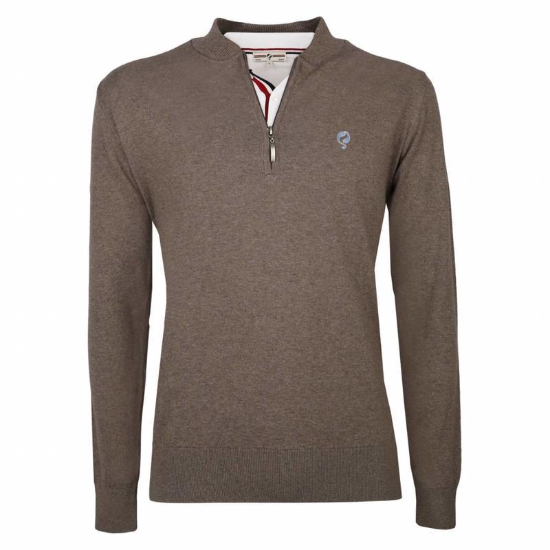 Q1905 Heren Pullover Half Zip Chester Mid Brown