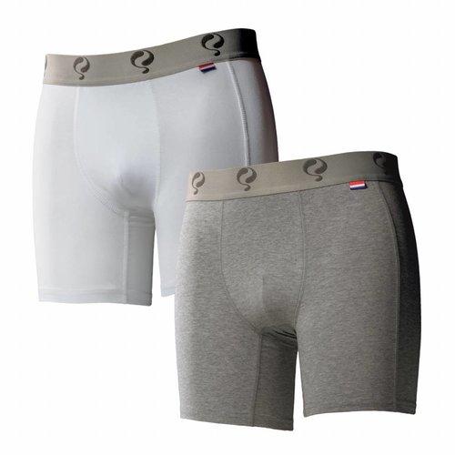Men boxer 2-pack  -  white / grey
