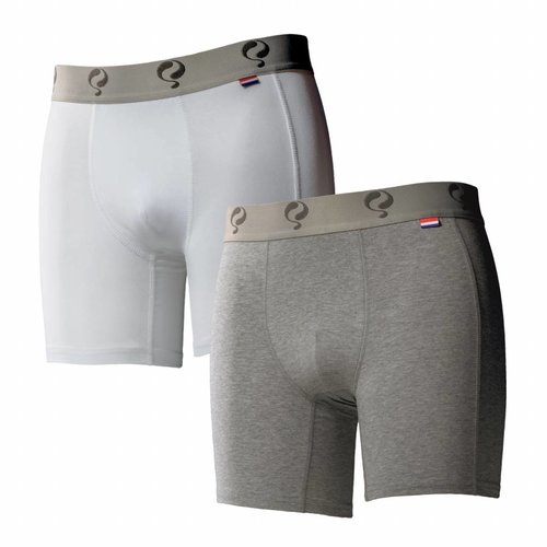 Men boxer 2-pack  -  white / grey