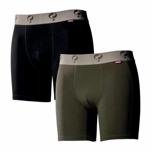 Heren Boxer 2-Pack  -  Black / Army Green