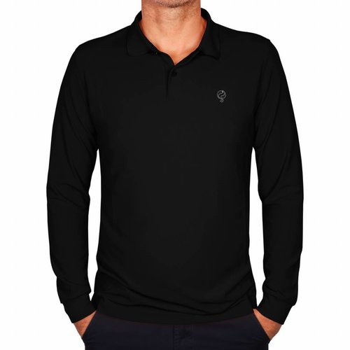 Heren Longsleeve Polo JL High Black