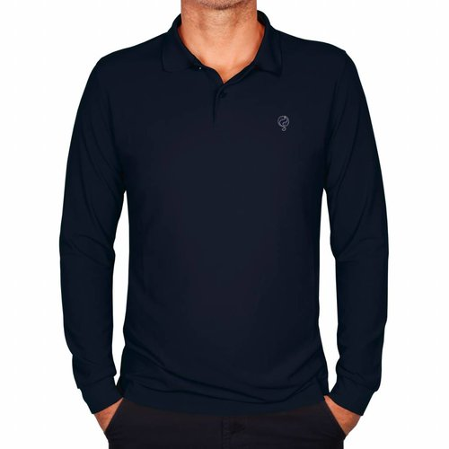 Heren Longsleeve Polo JL High Deep Navy