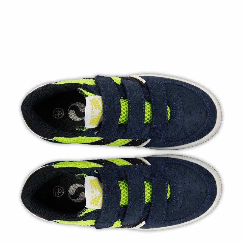 Q1905 Kids Sneaker Maurissen JR Velcro  -  Neon Yellow/Denim Blue/Deep Navy ( 26-35 )