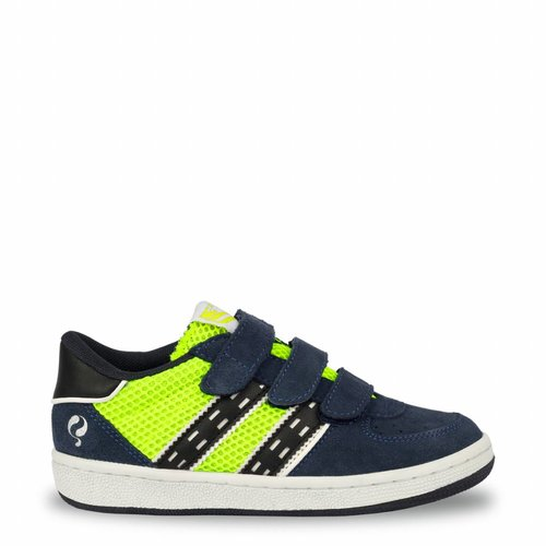 Kids Sneaker Maurissen JR Velcro  -  Neon Yellow/Denim Blue/Deep Navy ( 26-35 )