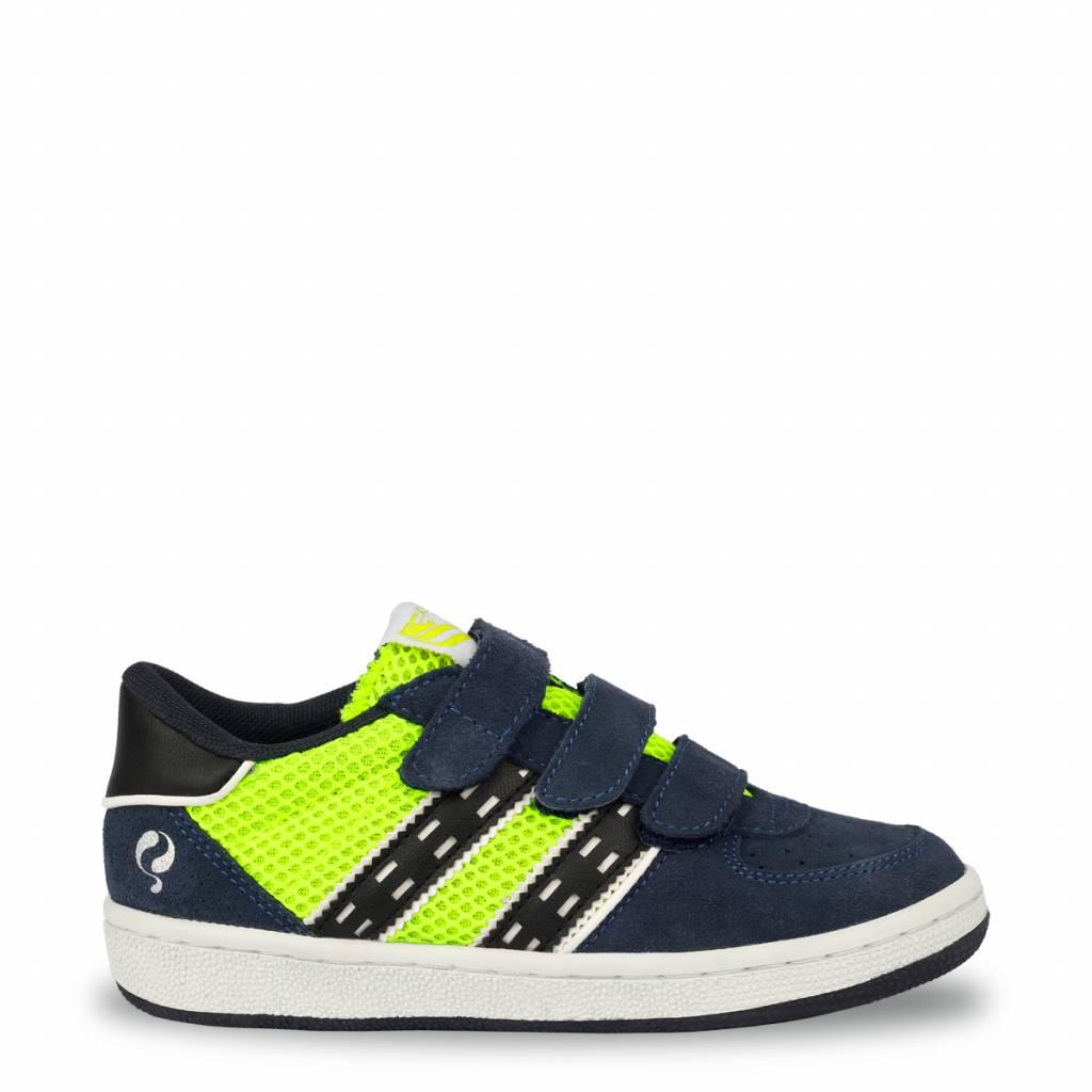Q1905 Kids Sneaker Maurissen JR Velcro - Neon Yellow/Denim Blue/Deep Navy ( 26-35 )