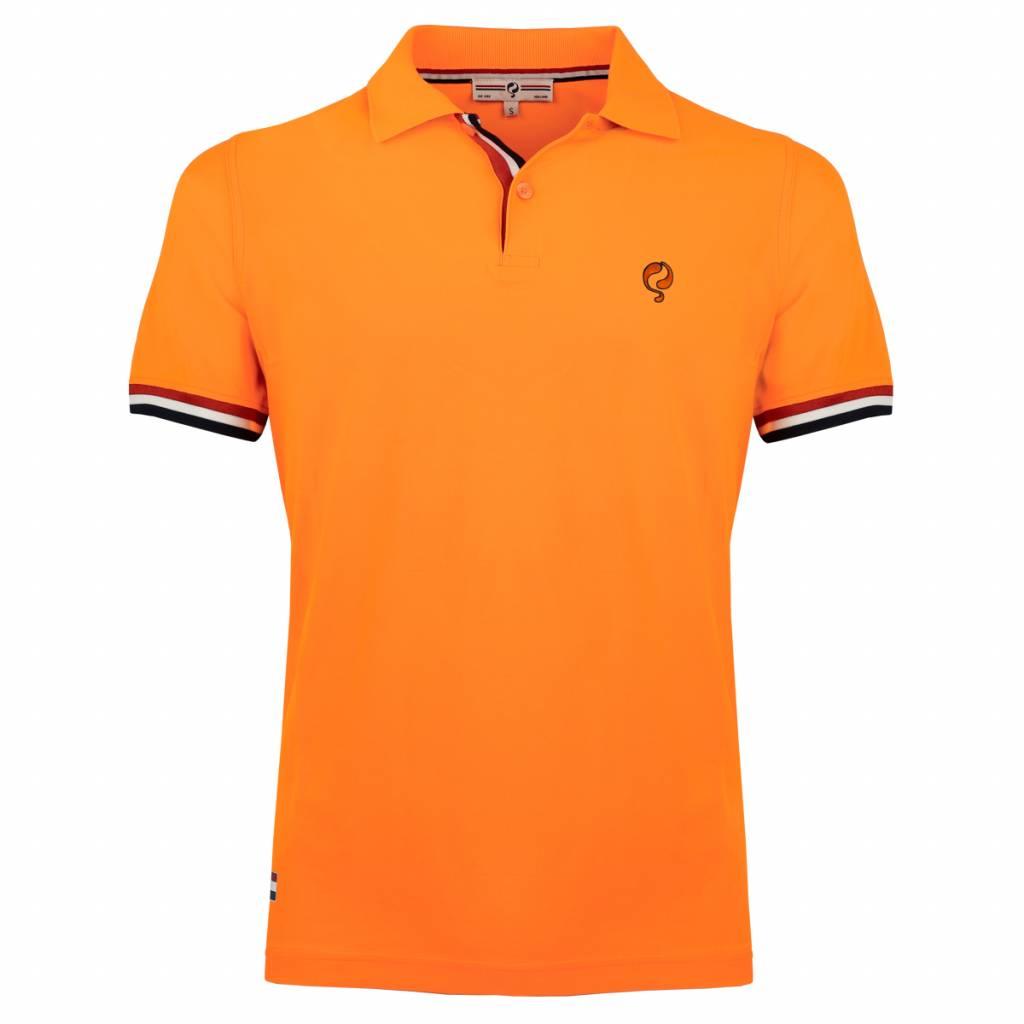 Q1905 Heren Polo Joost Luiten - Zacht Fluor Oranje