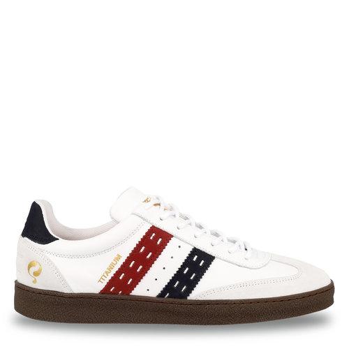 Heren Sneaker Titanium  -  Wit/Rood-Donkerblauw