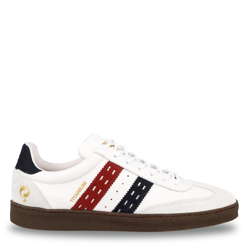 Q1905 Men's Sneaker Titanium  -  White/Red-Dark Blue
