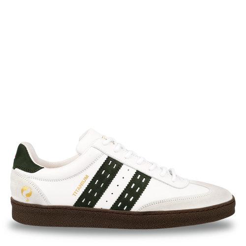 Heren Sneaker Titanium  -  Wit/Donkergroen