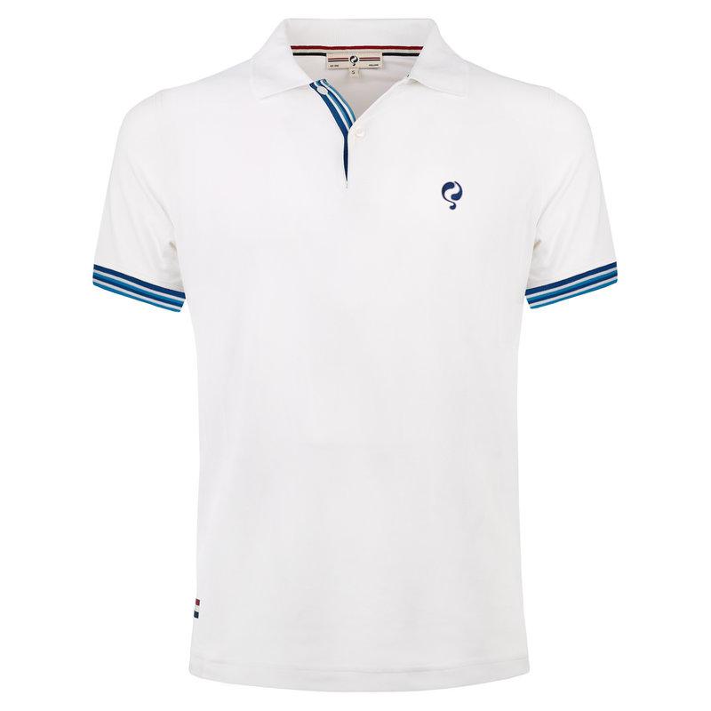 Q1905 Heren Polo Joost Luiten  -  Wit (Blauw)
