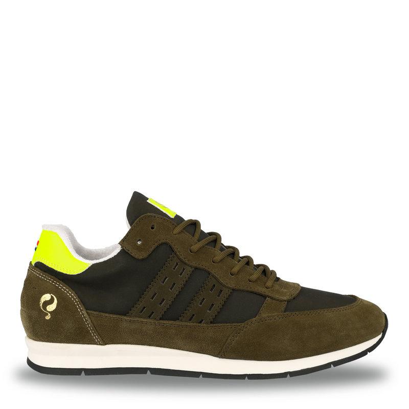 Q1905 Men's Sneaker Kijkduin  -  Army Green/Neon Yellow