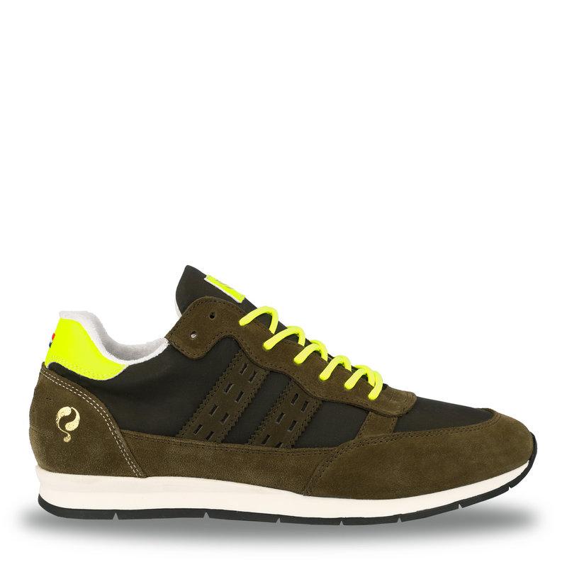 Q1905 Heren Sneaker Kijkduin  -  Legergroen/Neon Geel
