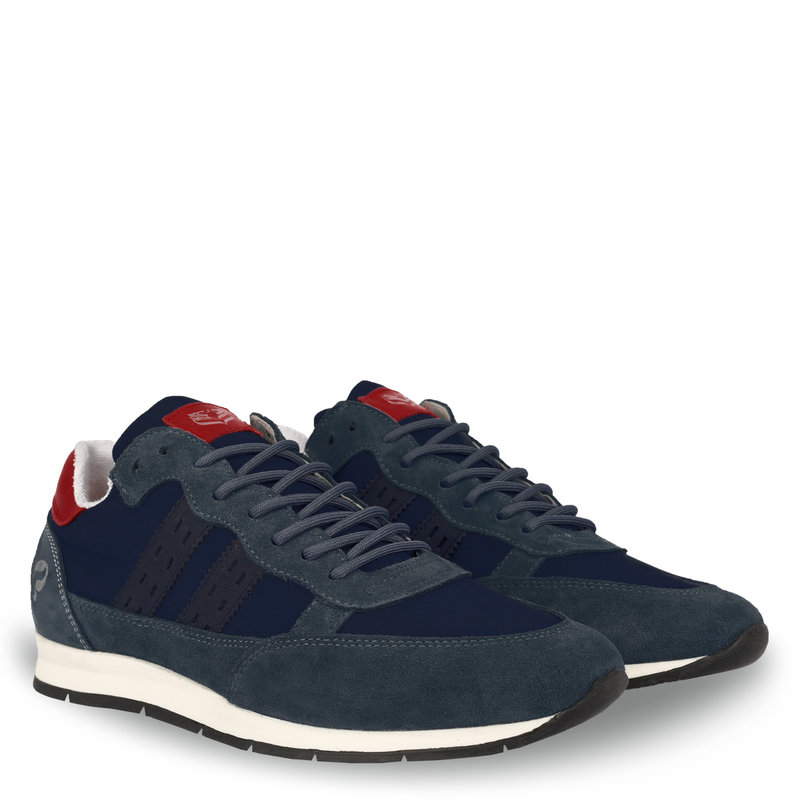 Q1905 Men's Sneaker Kijkduin  -  Denim Blue/Red