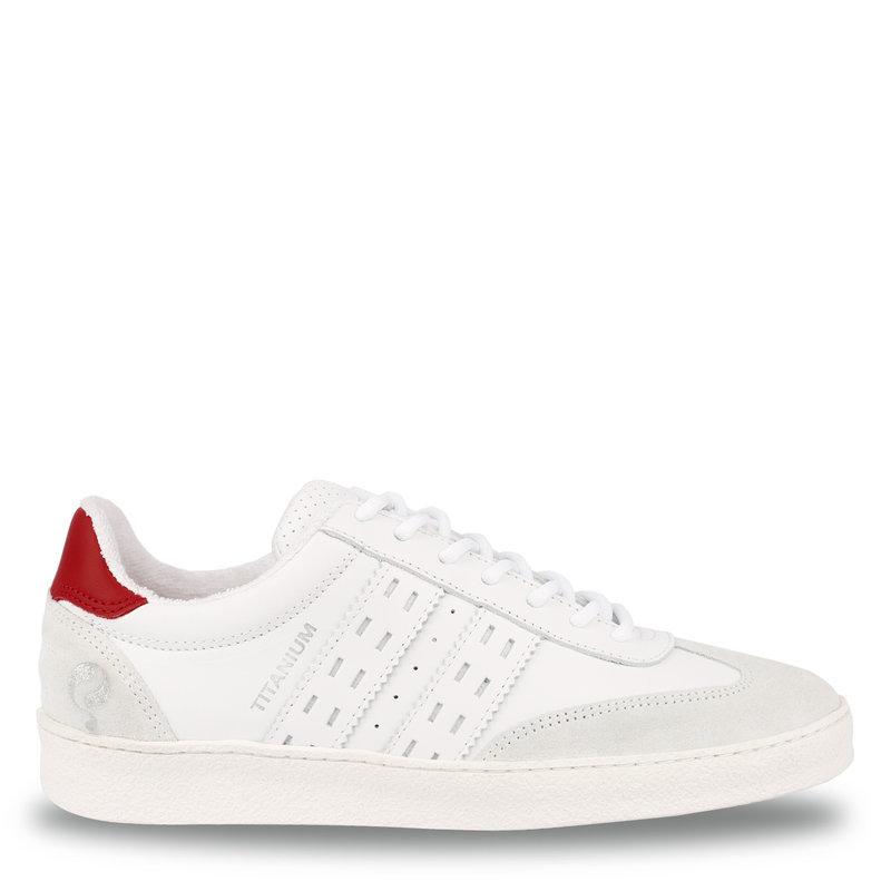 Q1905 Dames Sneaker Titanium  -  Wit/Rood