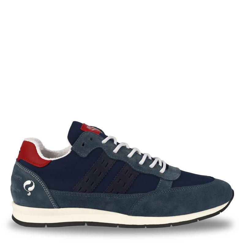 Q1905 Heren Sneaker Kijkduin  -  Denim Blauw/Rood