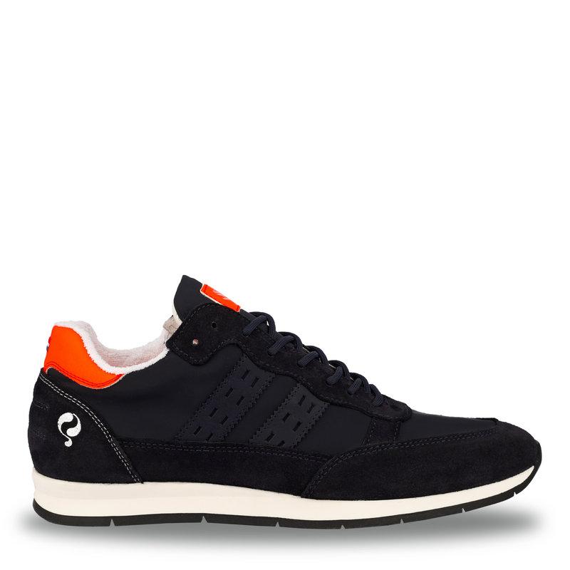 Q1905 Heren Sneaker Kijkduin  -  Donkerblauw/Neon Oranje