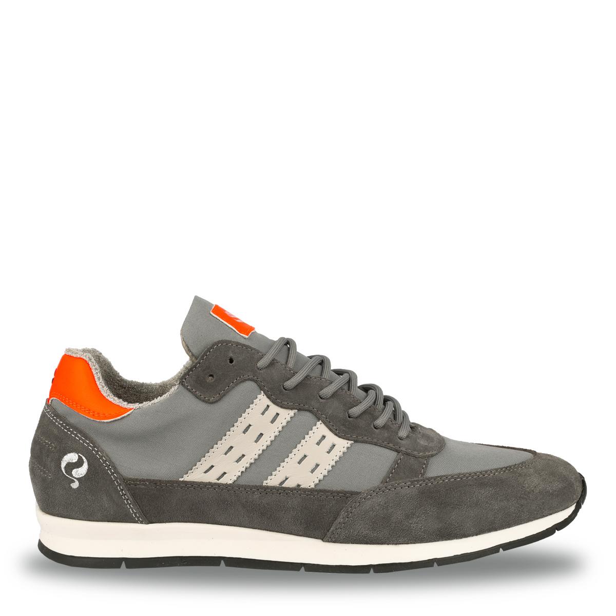Q1905 Heren Sneaker Kijkduin - Grijs/Neon Oranje