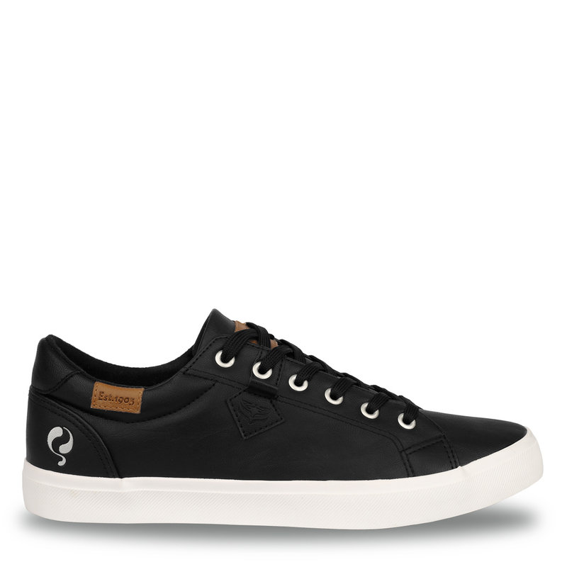 Q1905 Heren Sneaker Laren  -  Zwart (Lederlook)