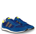 Q1905 Heren Sneaker Kijkduin  -  Hardblauw/Neon Geel