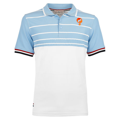 Men's Polo JL Swing  -  White/Light Blue