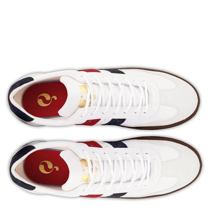 Q1905 Heren Sneaker Titanium  -  Wit/Rood-Donkerblauw