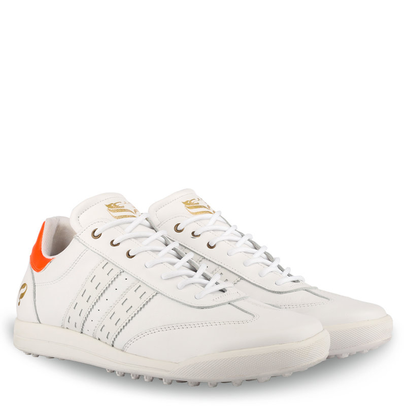 Q1905 Heren Golfschoen Pitch  -  Wit/Neon Oranje
