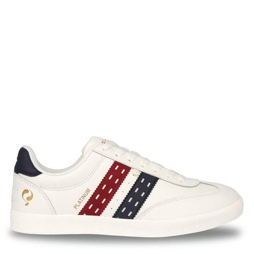 Heren Sneaker Platinum  -  Wit/Rood-Donkerblauw
