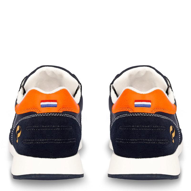Q1905 Heren Sneaker Voorschoten - Grijs/Oranje
