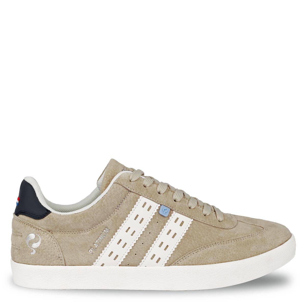 Mix & Match: 2 voor 119 - Heren Sneaker Platinum - Zacht Taupe/Wit/Donkerblauw
